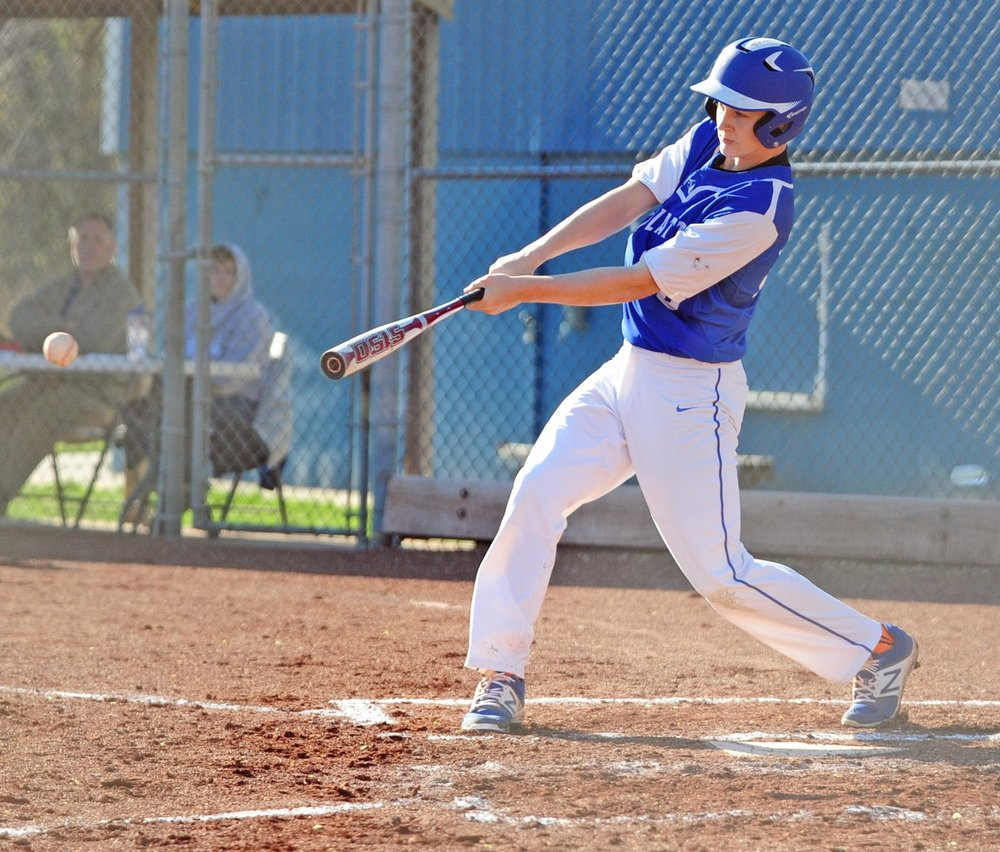 NICK INGRAM/Citizen photo West Platte sophomore Noah Johnson connects for West Platte's lone hit in a 10-0 loss in five innings to the Dragons.