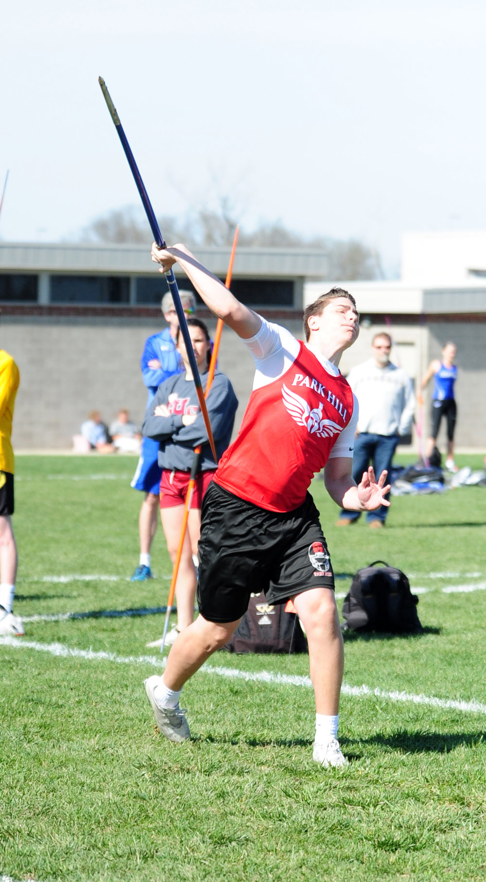 NICK INGRAM/Citizen photo Park Hill Kolby Heineriksen throws the javelin in the Jerry Crews Invitational on Friday, April 7 at North Kansas City District Activities Complex in Kansas City, Mo.