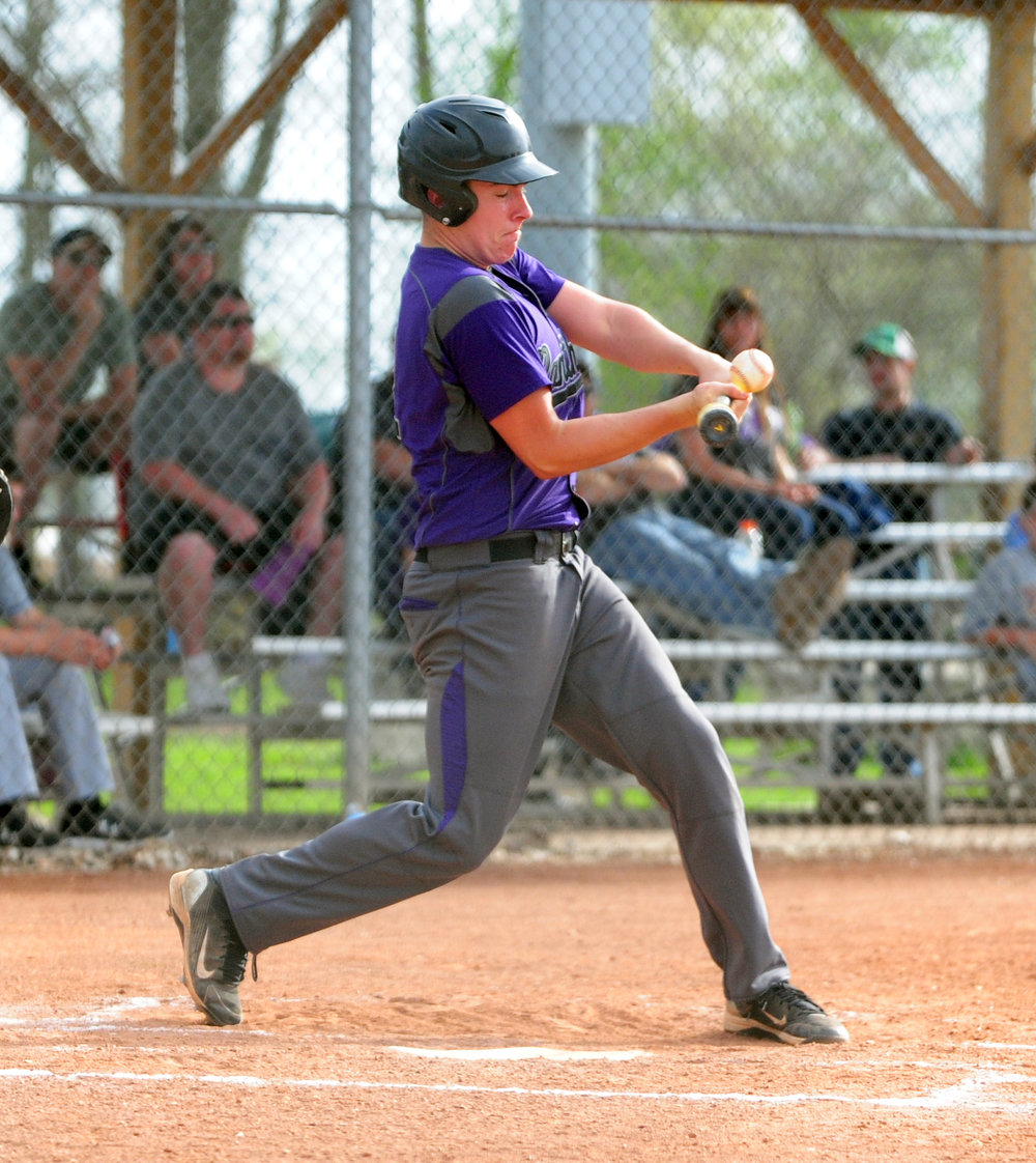 NICK INGRAM/Citizen photo North Platte junior Austin Snook makes contact during an at-bat against Lathrop on Thursday, April 13 at Dean Park in Dearborn, Mo.