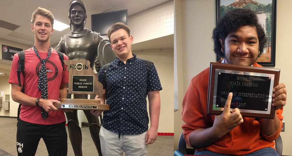Photos from @WeAreParkHill LEFT: Park Hill seniors Jake McFee, left, and Matt Hayes earned a state championship in public forum debate during the Missouri State Speech and Debate Championships over the weekend. RIGHT: Ben Tuimauga, a junior, won state in dramatic interpretation.