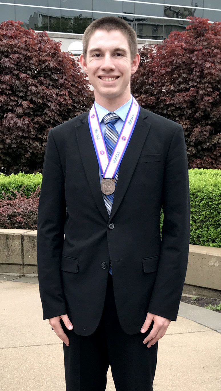 Contributed photo Platte County senior Donovan Douglas placed fifth in radio speaking over the weekend during the Missouri State Speech and Debate Championships.