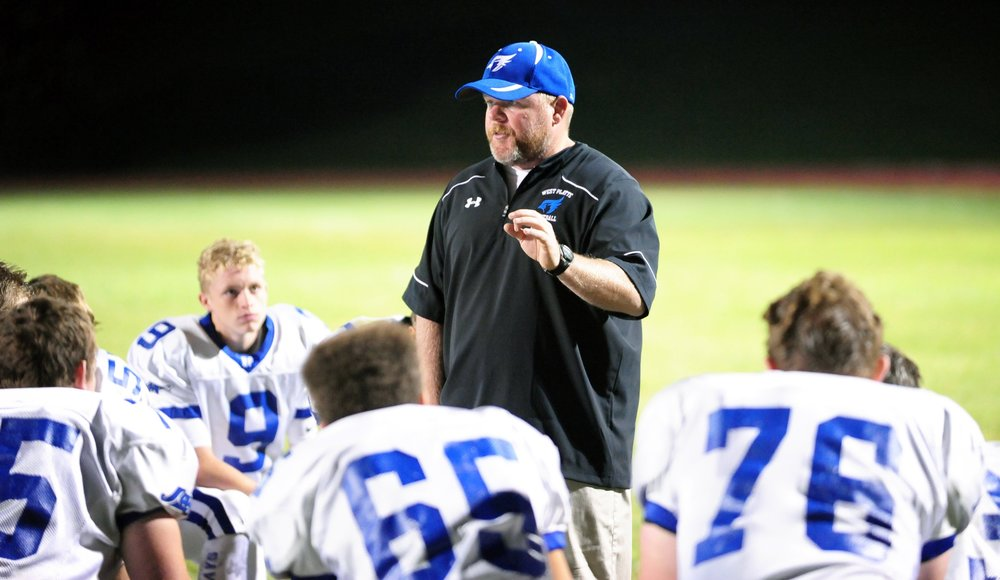 NICK INGRAM/Citizen photo West Platte football coach Nate Danneman, seen in this 2016 photo talking to players after a game against Mid-Buchanan in Faucett, Mo., died Wednesday, April 19 in a car accident.