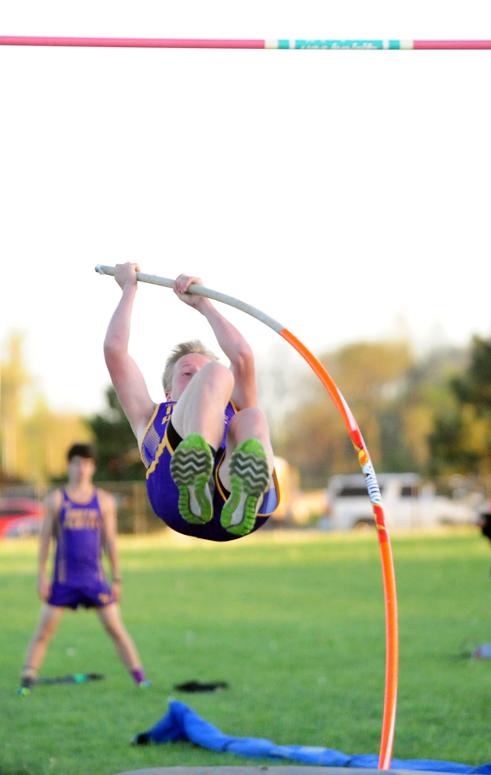 NICK INGRAM/Citizen photo North Platte sophomore Tyler Meadows approaches the bar in a pole vault attempt during the Christian Invitational on Thursday, April 20 at Christian Field in St. Joseph, Mo.