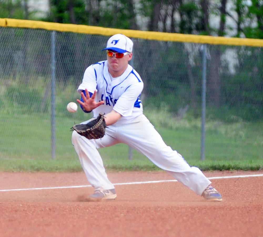 NICK INGRAM/Citizen photo West Platte freshman Jasper Basel fields a ball at third base Wednesday, April 19 against North Platte at Benner Park in Weston, Mo.