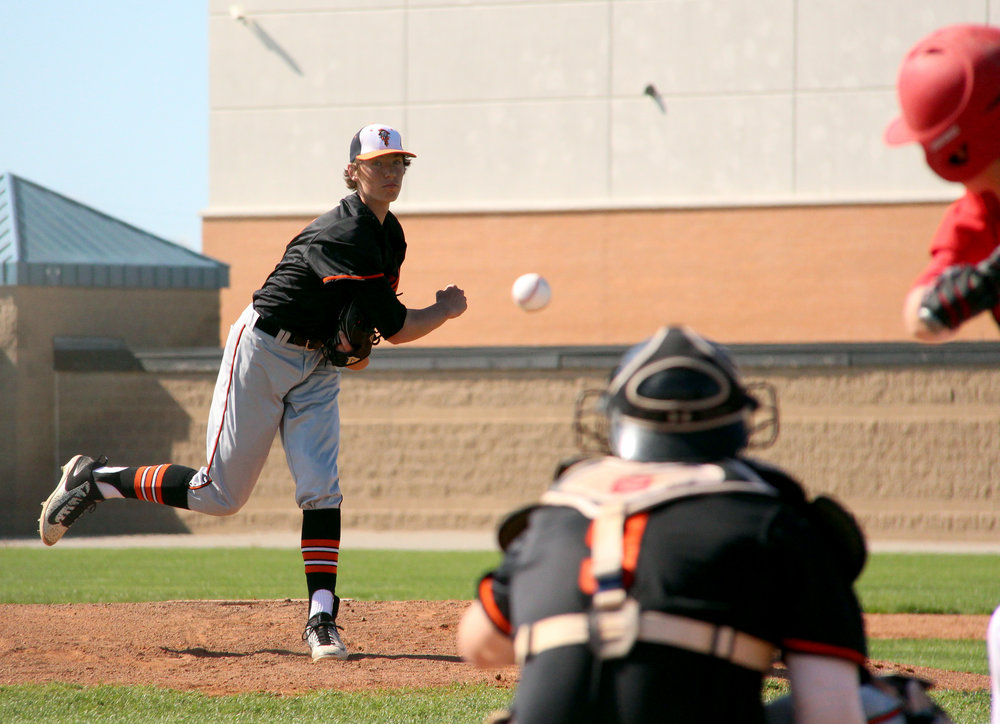 ROSS MARTIN/Citizen Editor Platte County sophomore Ethan Esdohr delivers a pitch against Park Hill during the Northland Tournament on Thursday, April 20 at Park Hill High School in Kansas City, Mo.