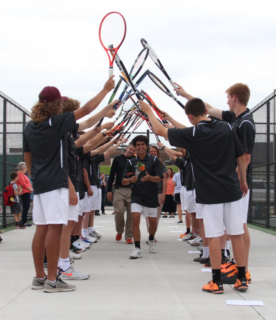 ROSS MARTIN/Citizen photo Platte County senior Payton Anderson is introduced on senior night ahead of a dual against Belton on Tuesday, April 25 at the brand new eight-court tennis facility on campus in Platte City.