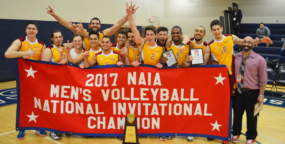 Contributed photo Park University men's volleyball players and coach Mike Talamantes, far right, recently celebrated winning the 2017 NAIA Men's Volleyball National Invitational Championship. The Pirates defeated Grand View (Iowa) in the championship match.