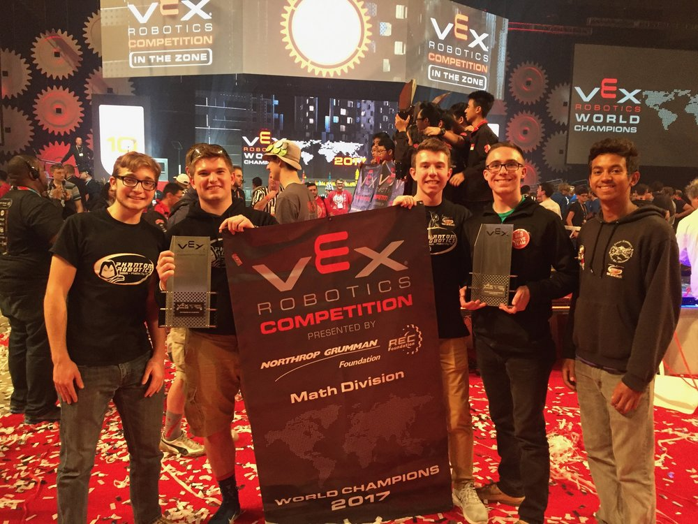 Contributed photo Platte County High School students (from left) Alex Harms, Will Valentine, Wesley Valentine, Zach Lienemann and Matthew Phillips advanced to the VEX Robotics World Championship final last month during an international competition in Louisville, Ky.