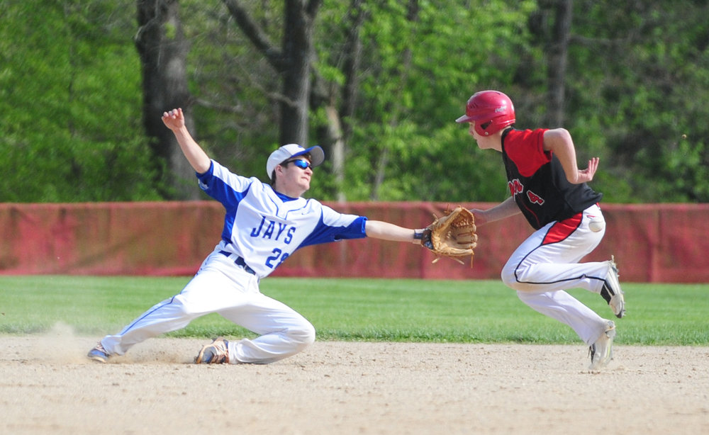 NICK INGRAM/Citizen photo West Platte senior second baseman Connor McNair dives to try and stop a ground ball during a doubleheader with Plattsburg on Thursday, April 27 in Plattsburg, Mo.
