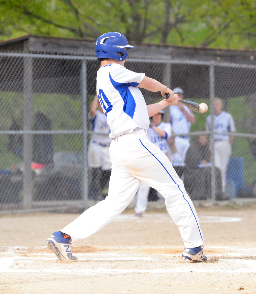 NICK INGRAM/Citizen photo West Platte sophomore Noah Johnson makes contact with a pitch during game one of a doubleheader with Plattsburg on Thursday, April 27 in Plattsburg, Mo.