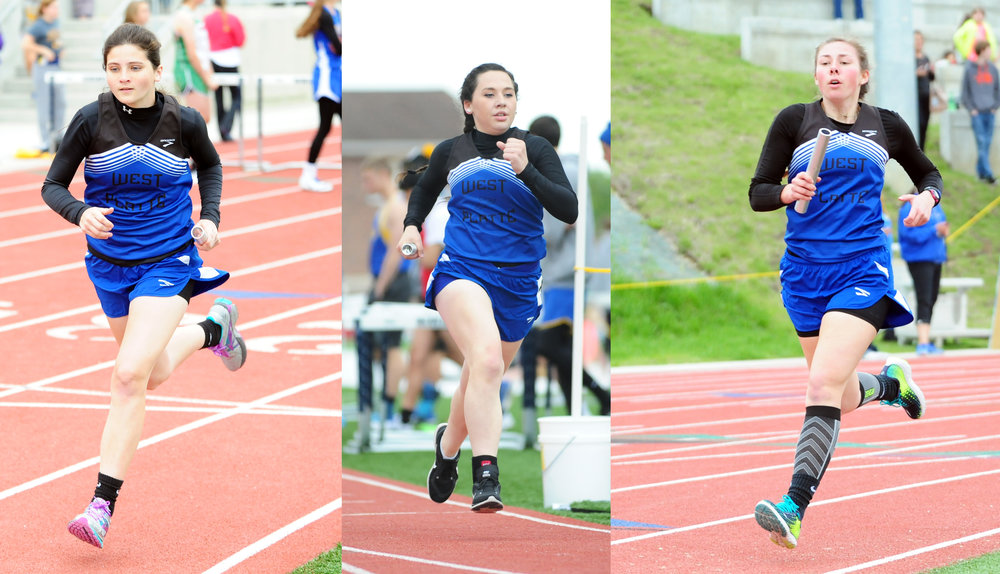 West Platte sophomore Lea Moose (left),junior Sikoya Richard (center) and junior Rachel Heili (right) ran in the 4x800-meter relay, helping the Bluejays finish third..