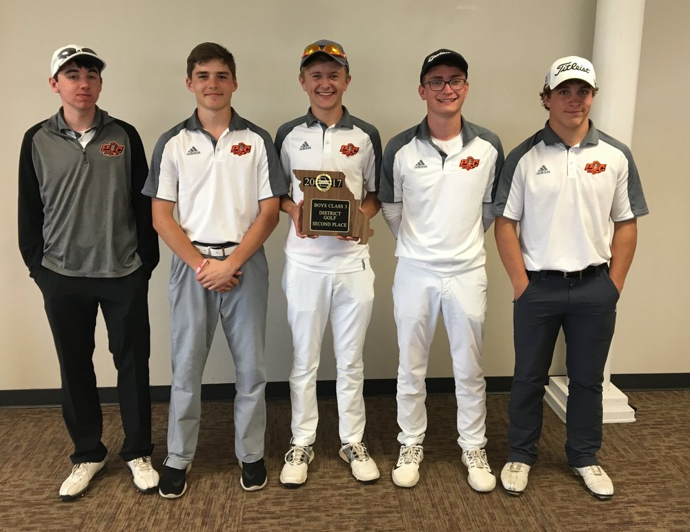 ROSS MARTIN/Citizen photo From left, Platte County freshman Logan Hessemyer, senior Austin Acord, senior Payton Boekhout, senior Tanner Burkin and sophomore Bradley Poos finished second in the Class 3 District 8 tournament Tuesday, May 2 at Paradise Pointe Golf Complex in Smithville, Mo. The Pirates finished as a district runner-up for just the second time in program history and first since 2001.