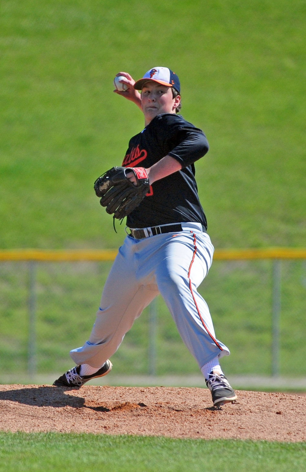 NICK INGRAM/Citizen photo Platte County sophomore Glen Gammill delivers to a Park Hill South batter Saturday, May 6 at Park Hill South High School in Riverside, Mo.