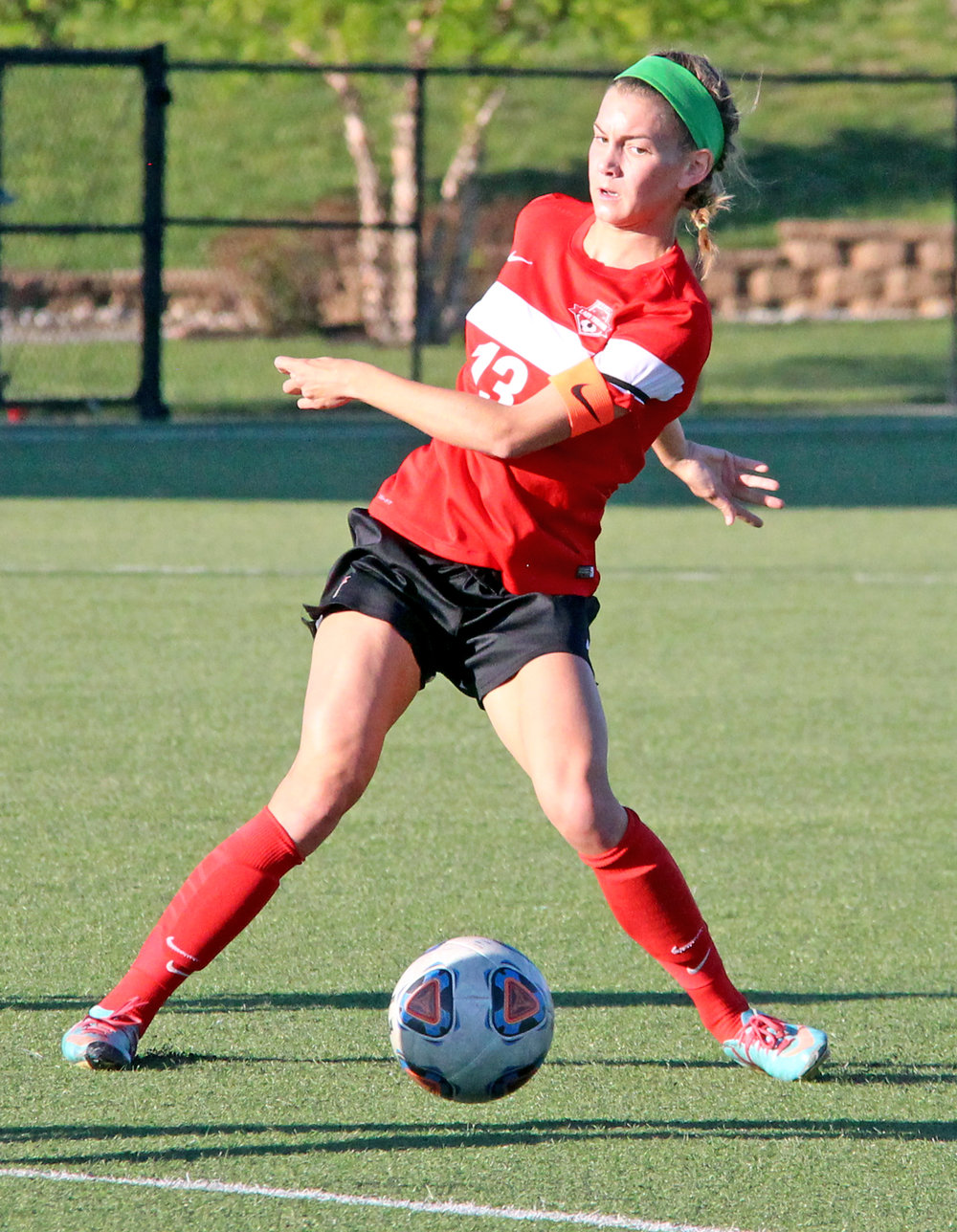 ROSS MARTIN/Citizen photo Park Hill senior defender Jenna Winebrenner looks to make a pass against Park Hill South on Saturday, May 6 at Park Hill District Soccer Complex in Riverside, Mo.