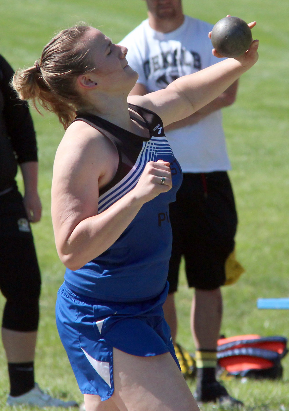 ROSS MARTIN/Citizen photo West Platte senior Sydney Oberdiek takes an attempt in the shot put Saturday, May 6 in the Class 1 District 8 track meet held at Rudolph Eskridge Stadium in Weston, Mo.