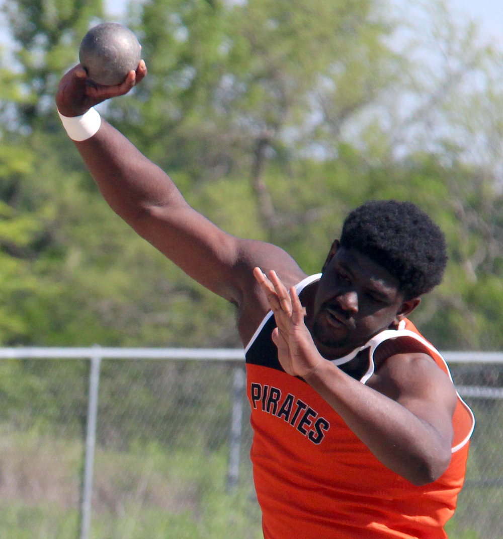 ROSS MARTIN/Citizen photo Platte County junior Xavier Keith takes an attempt in the shot put during the Suburban Conference Blue Division Championships on Friday, May 5 at Southwick Stadium in Belton, Mo. He finished second with a new personal best.