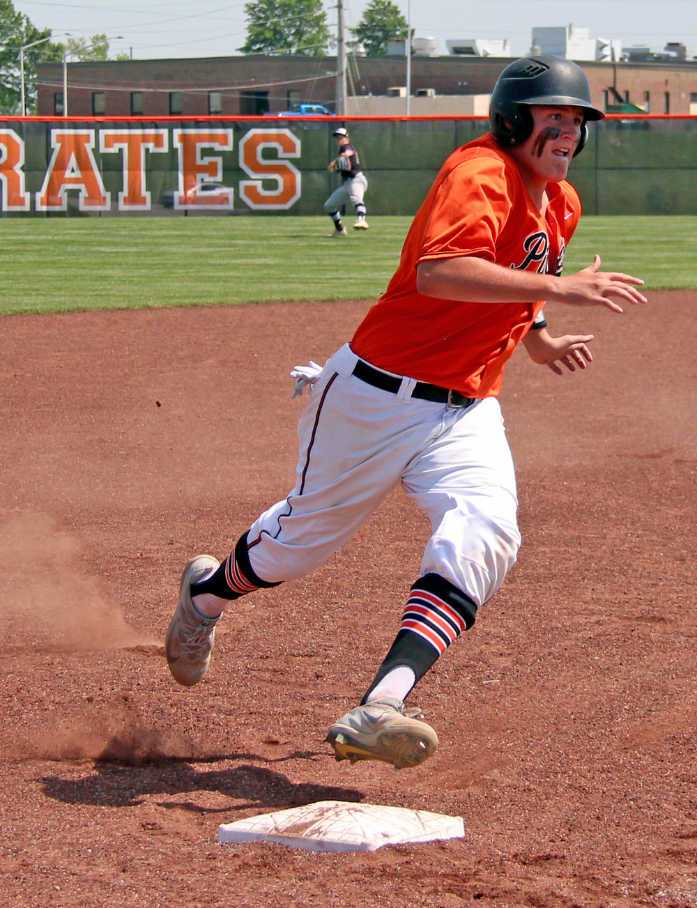 ROSS MARTIN/Citizen photo Platte County first baseman Austin Gammill goes to round third base during the fifth inning Monday, May 15 in a Class 5 District 16 semifinal with Park Hill South at Platte County High School.
