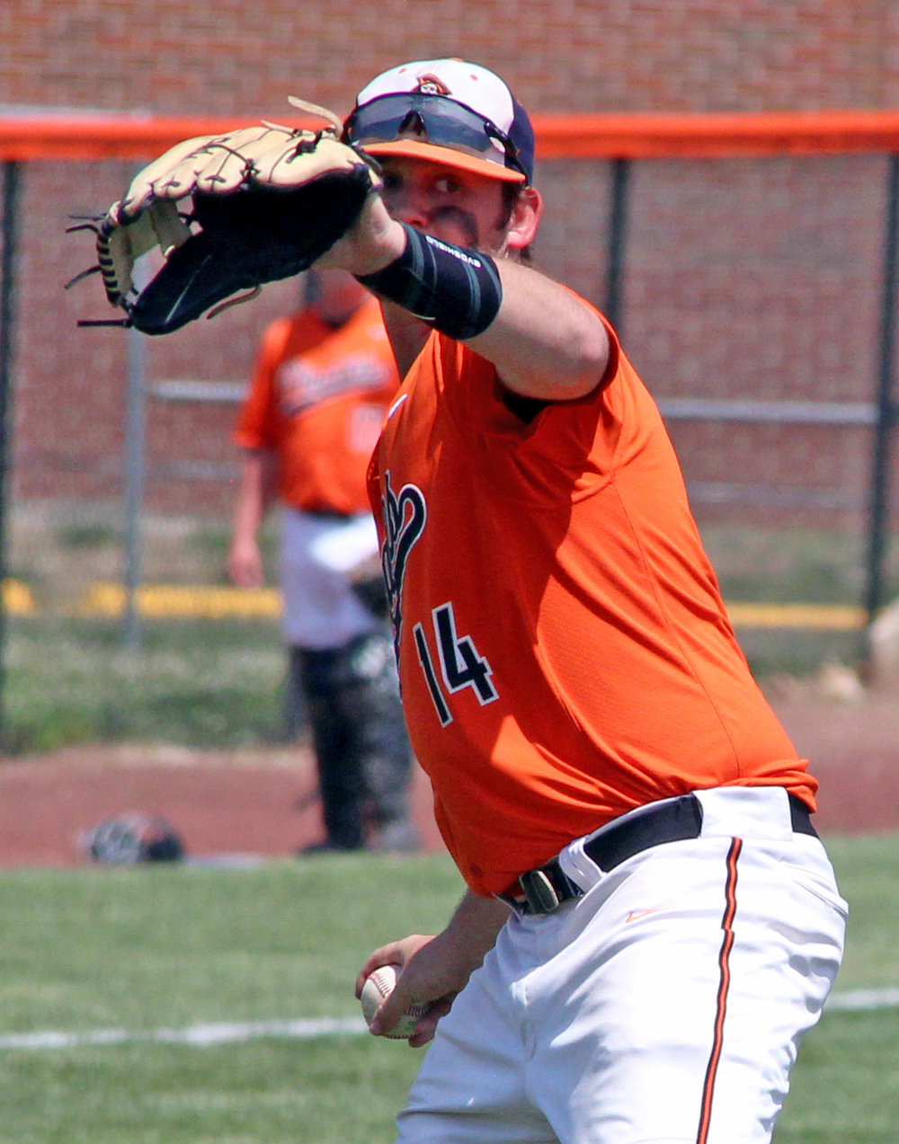 ROSS MARTIN/Citizen photo Platte County junior third baseman Max Hunter sets to make a throw to first base during a Class 5 District 16 semifinal against Park Hill South on Monday, May 15.