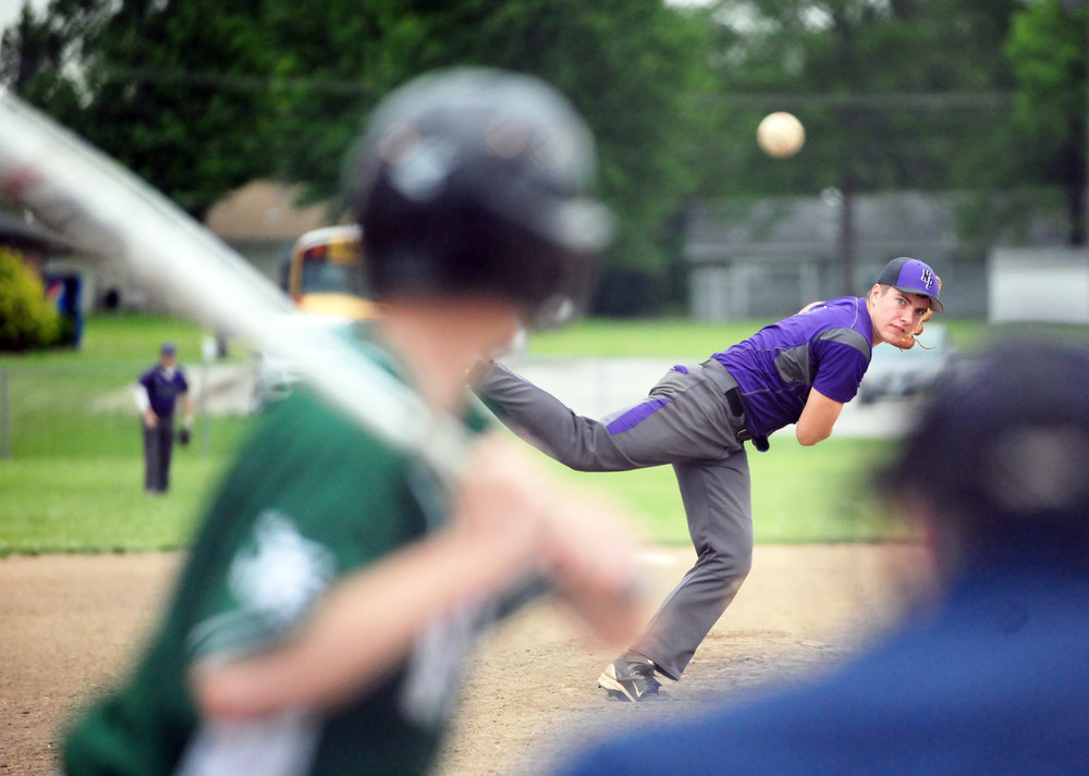 NICK INGRAM/Citizen photo North Platte junior Austin Snook delivers a pitch to a Crest Ridge batter during a Class 2 District 16 first round game Thursday, May 11 in Concordia, Mo.