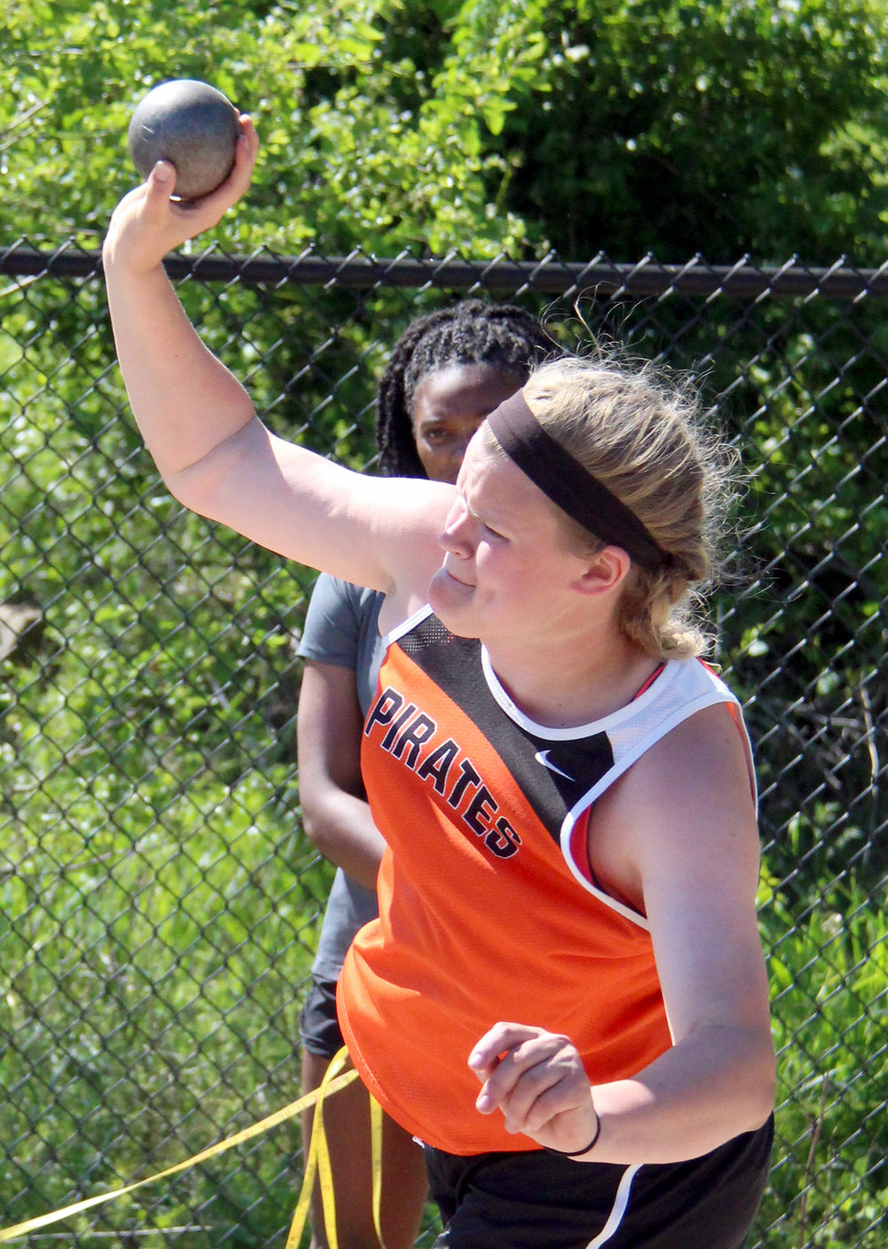 ROSS MARTIN/Citizen photo Platte County senior Liz Peterson takes an attempt in the shot put during the Class 4 District 8 meet Saturday, May 13 at Park Hill District Stadium in Kansas City, Mo.