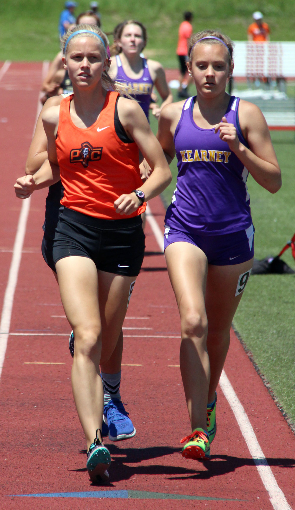 ROSS MARTIN/Citizen photo Platte County junior Rebekah Geddes moves into first place during the 1,600-meter run Saturday, May 13 in the Class 4 District 8 meet at Park Hill District Stadium in Kansas City, Mo.