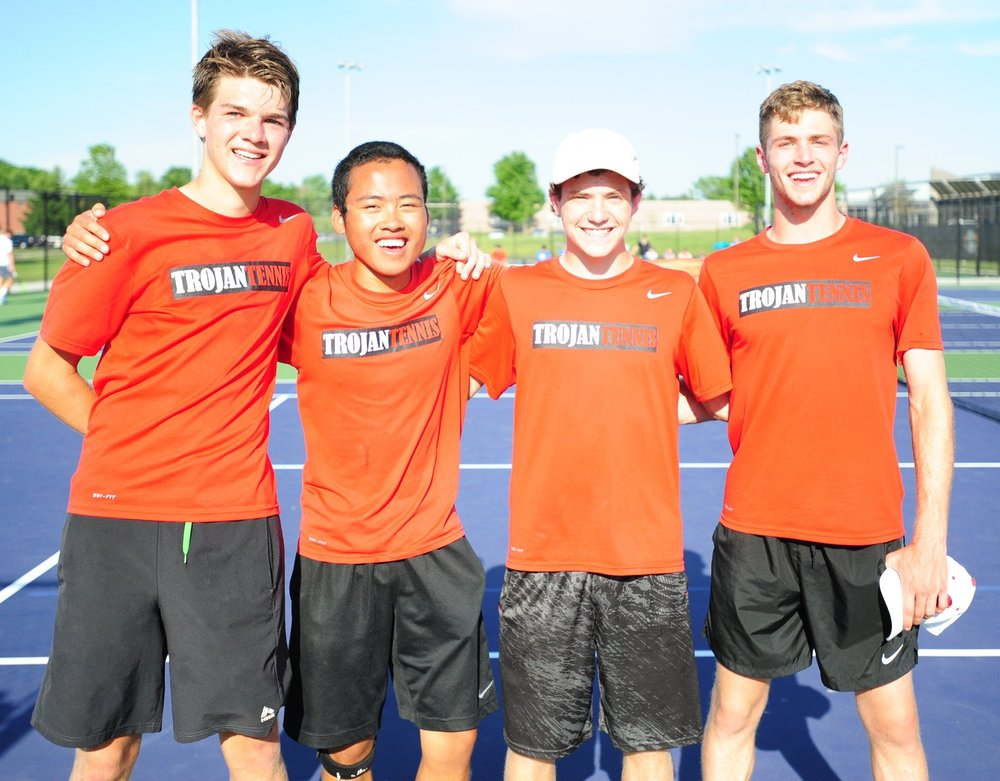NICK INGRAM/Citizen photo Park Hill players (from left) sophomore Cooper Hayes, senior Chandler To, senior Grant Martin and senior Jake McFee advanced in doubles to the Class 2 Missouri State Tennis Championships.