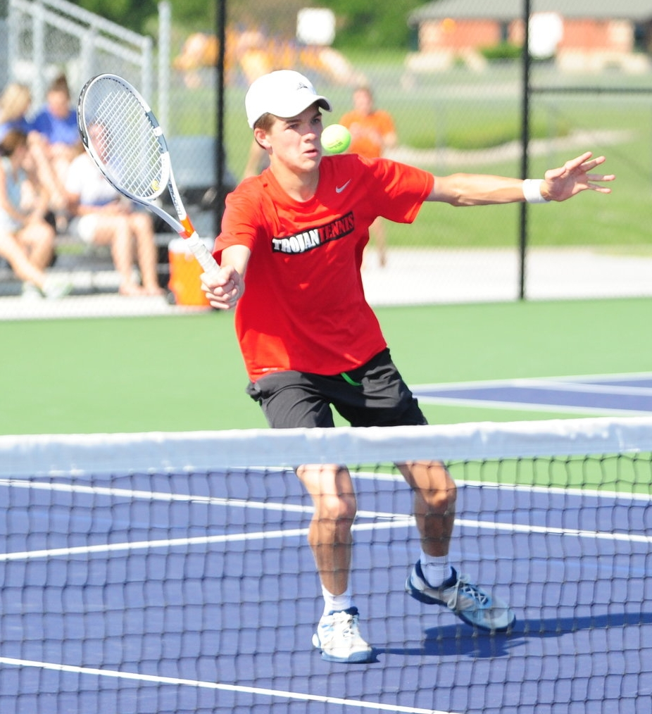 NICK INGRAM/Citizen photo Park Hill sophomore Cooper Hayes hits a forehand during a Class 2 Sectional 8 doubles match Monday, May 15 at Kearney High School in Kearney, Mo.