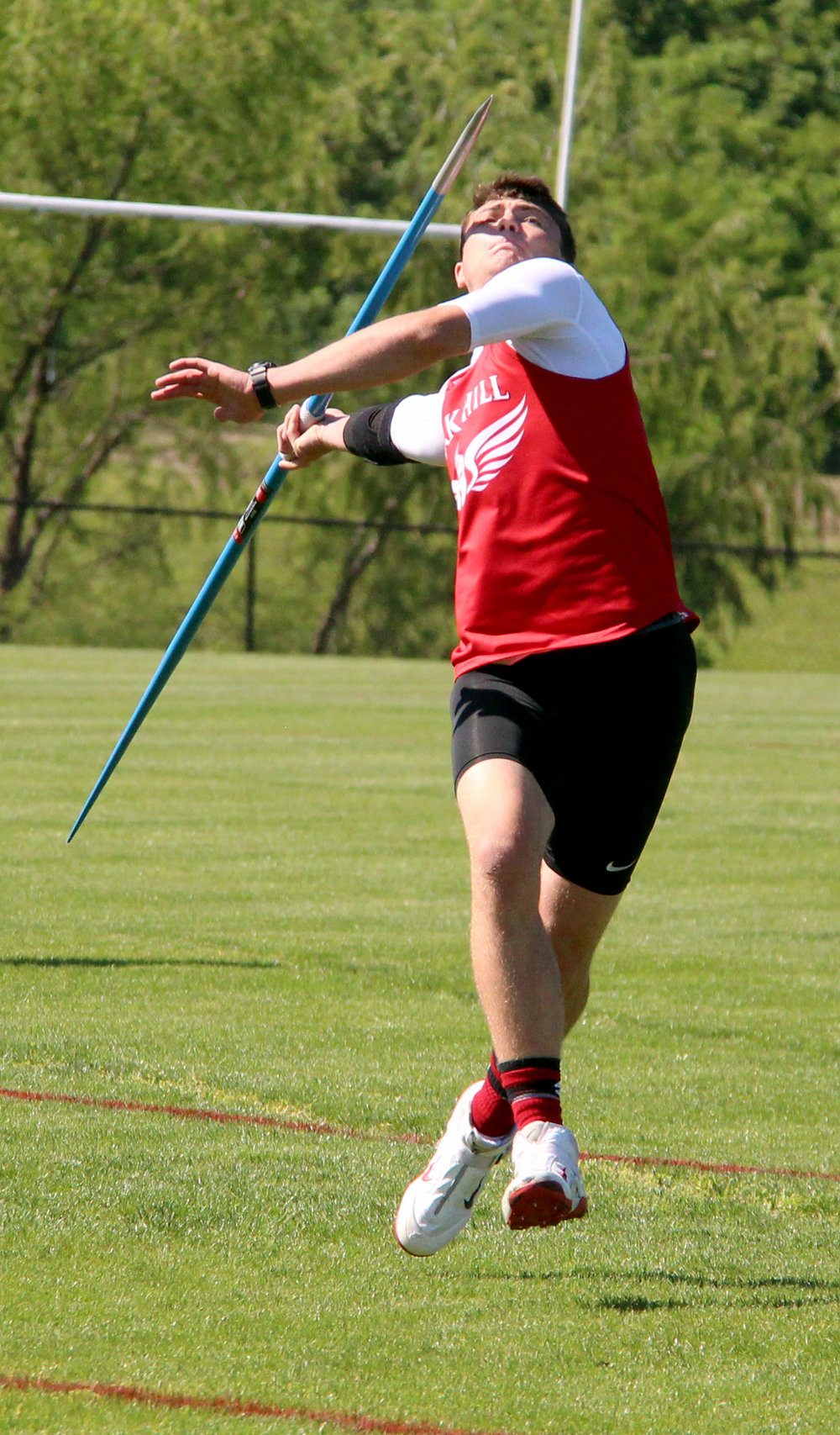 ROSS MARTIN/Citizen photo Park Hill sophomore Kolby Heinerikson takes an attempt in the javelin during the Class 5 District 8 meet Saturday, May 13 at Park Hill District Stadium in Kansas City, Mo.