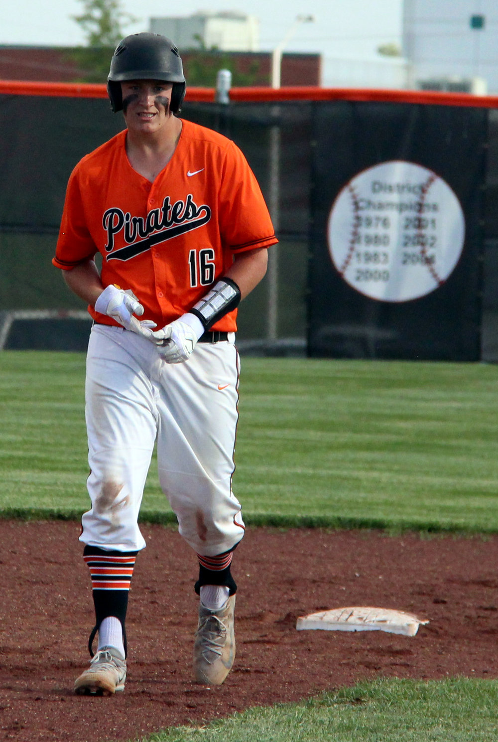 ROSS MARTIN/Citizen photo Platte County senior first baseman Austin Gammill walks off second base after delivering the walkoff hit in a 10-0 victory over Staley in the Class 5 District 16 championship game Wednesday, May 17 at Platte County High School.