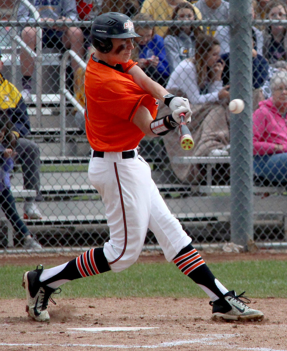 ROSS MARTIN/Citizen photo Platte County sophomore outfielder Ethan Esdohr hits a double in the second inning of a Class 5 sectional matchup with Liberty North on Tuesday, May 23 in Liberty, Mo.