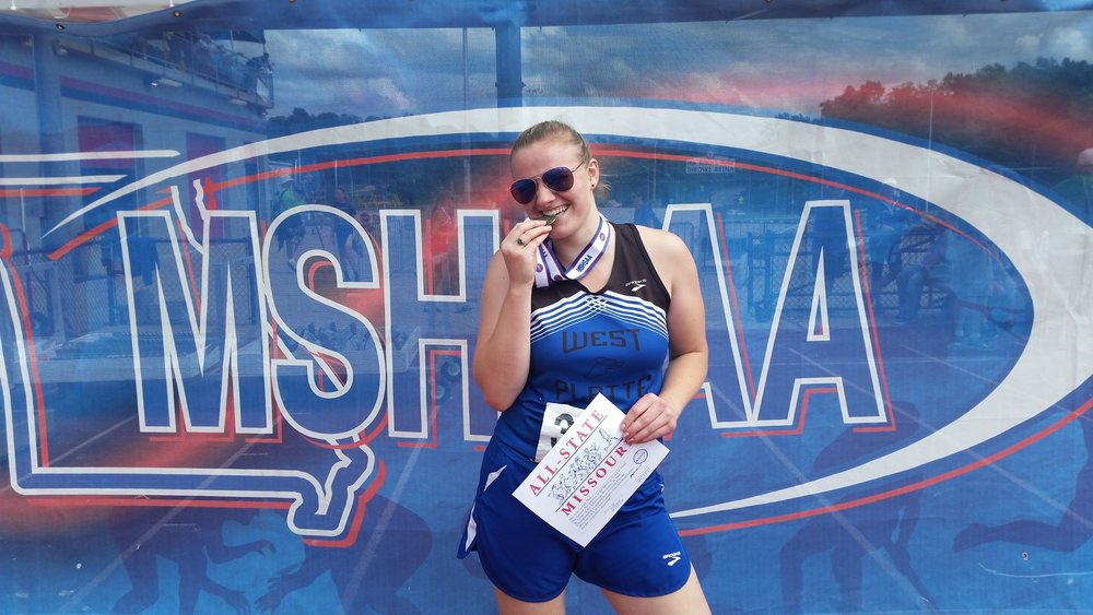 Contributed photo West Platte senior Sydney Oberdiek celebrates after winning the discus competition in the Class 1 Missouri State Track and Field Championships on Saturday, May 20 at Adkins Stadium in Jefferson City, Mo.