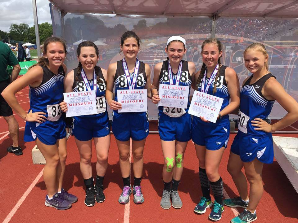 Contributed photo West Platte relay members, from left, Alexa Raney, Sikoya Richard, Lea Moose, Lindsay Goodwin, Rachel Heili and Faith Stevens competed in the Class 1 Missouri State Track and Field Championships this past weekend at Adkins Stadium in Jefferson City, Mo.