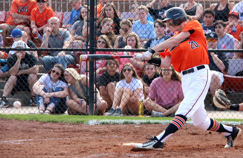ROSS MARTIN/Citizen photo Platte County sophomore Ethan Esdohr takes a swing in a Class 5 quarterfinal against Lee's Summit on Thursday, May 25 at Platte County High School.