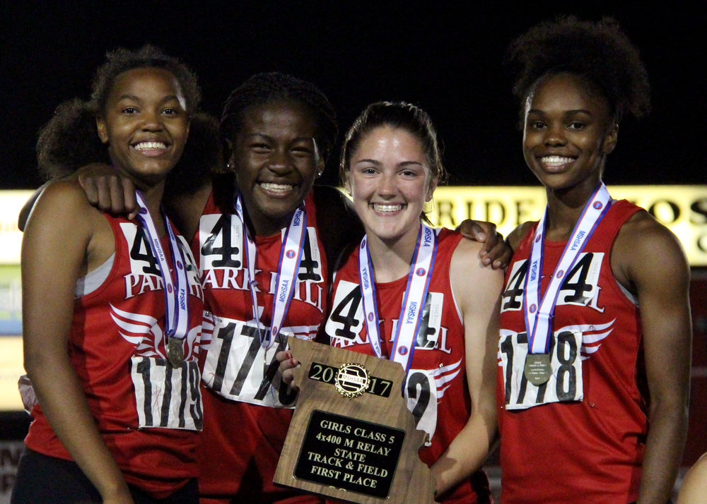 ROSS MARTIN/Citizen photo The Park Hill 4x400-meter relay team of (from left) freshman Teresa Thomas, sophomore Manuela Ngo Tonye Nyemeck, junior Jena Hahlbeck and junior Taiya Shelby won the Class 5 Missouri State Track and Field Championships' 4x400-meter final Saturday, May 27 at Adkins Stadium in Jefferson City, Mo.