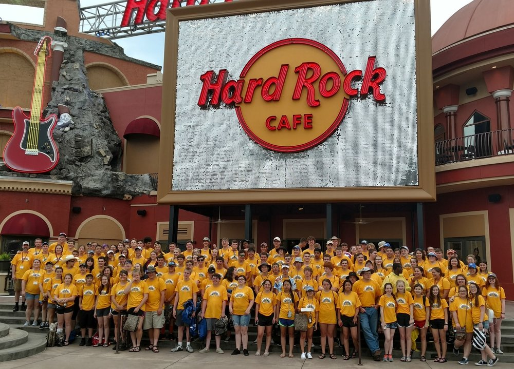Contributed photo Platte County High School band students who traveled to Orlanda, Fla. this past week posed for a picture outside of the Hard Rock Cafe. The trip, which included long bus rides to and from Florida, included performances and site-seeing opportunities.