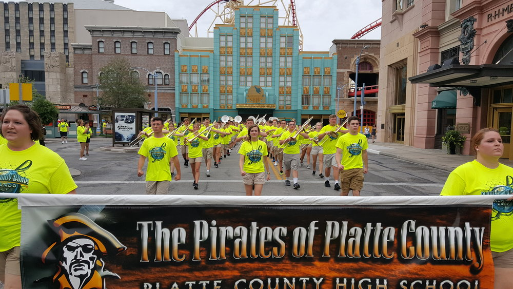 Contributed photo Students from Platte County R-3 High School's Pirate Pride Marching Band marched through Universal Studios on Friday, June 2 as part of a marching competition in Orlando, Fla.