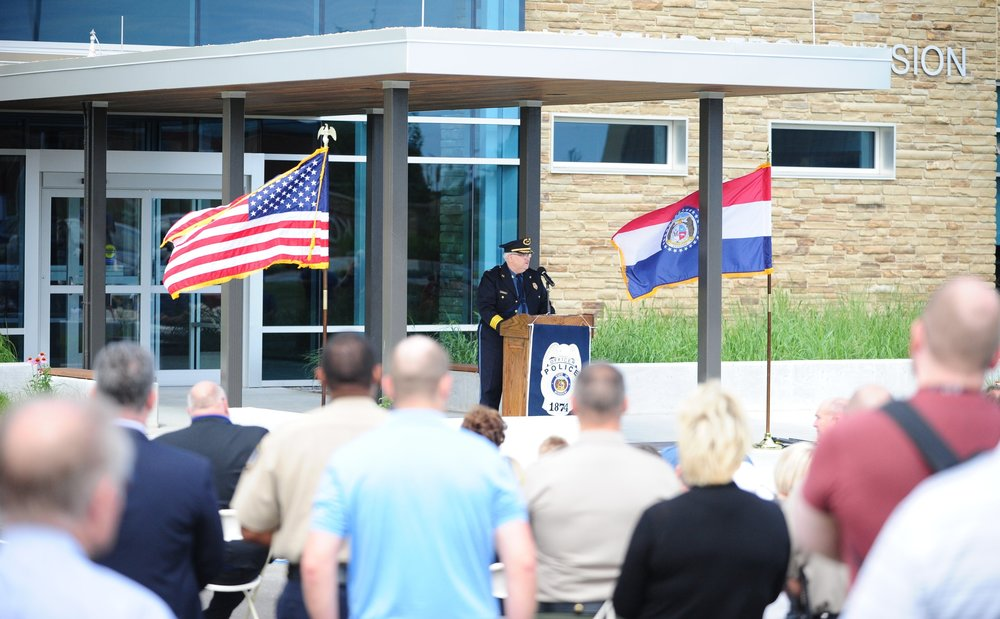 NICK INGRAM/Citizen photo More than a hundred people gathered in front of the new Kansas City (Mo.) Police Department North Patrol Headquarters, which was officially opened with a ceremony Friday, June 23. The department is located between NW Prairie View Road and Amity Avenue in Kansas City, Mo. — the first department building located in Platte County.