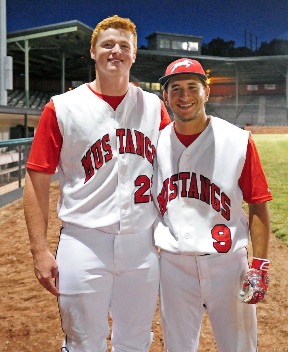 NICK INGRAM/Citizen photo Jake Purl, left, and Easton Fortuna have been playing baseball together for six straight years dating back to their days at Park Hill South High School. They will go their separate ways after a tour this summer with the St. Joseph (Mo.) Mustangs.