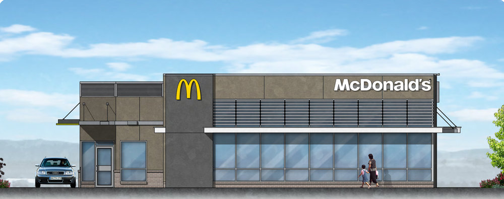 Contributed graphic Digital rendering of Platte City McDonald's proposed changes looking toward drive-thru at proposed PlayPlace expansion.