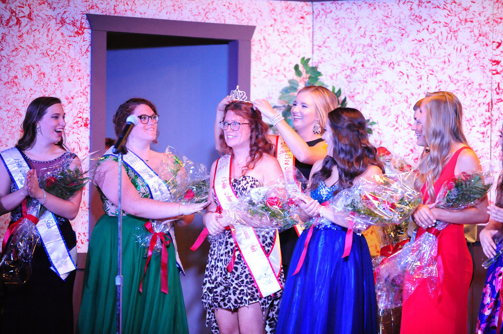 NICK INGRAM/Citizen photo Brittany Burns, 21, of Dearborn, Mo. (center) received Platte County Fair queen crown Wednesday, July 19 at the Platte County Fairgrounds in Tracy, Mo. from 2014 queen Karlye Horn.