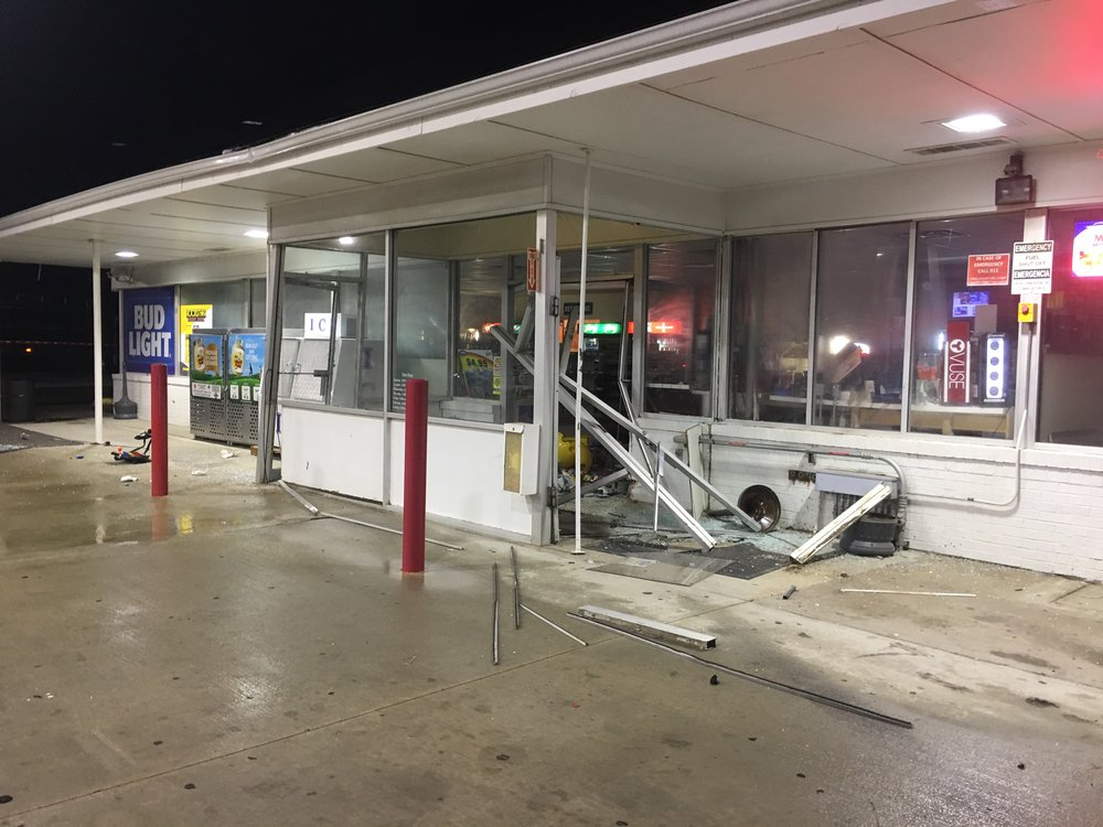 Contributed photo Unknown suspects broke into the Trex Mart store off of Interstate 29 in Camden Point, Mo., leaving behind widespread damage and stealing the ATM from inside. So far, no charges have been filed in the case, the second burglary at the gas station in the past six months.