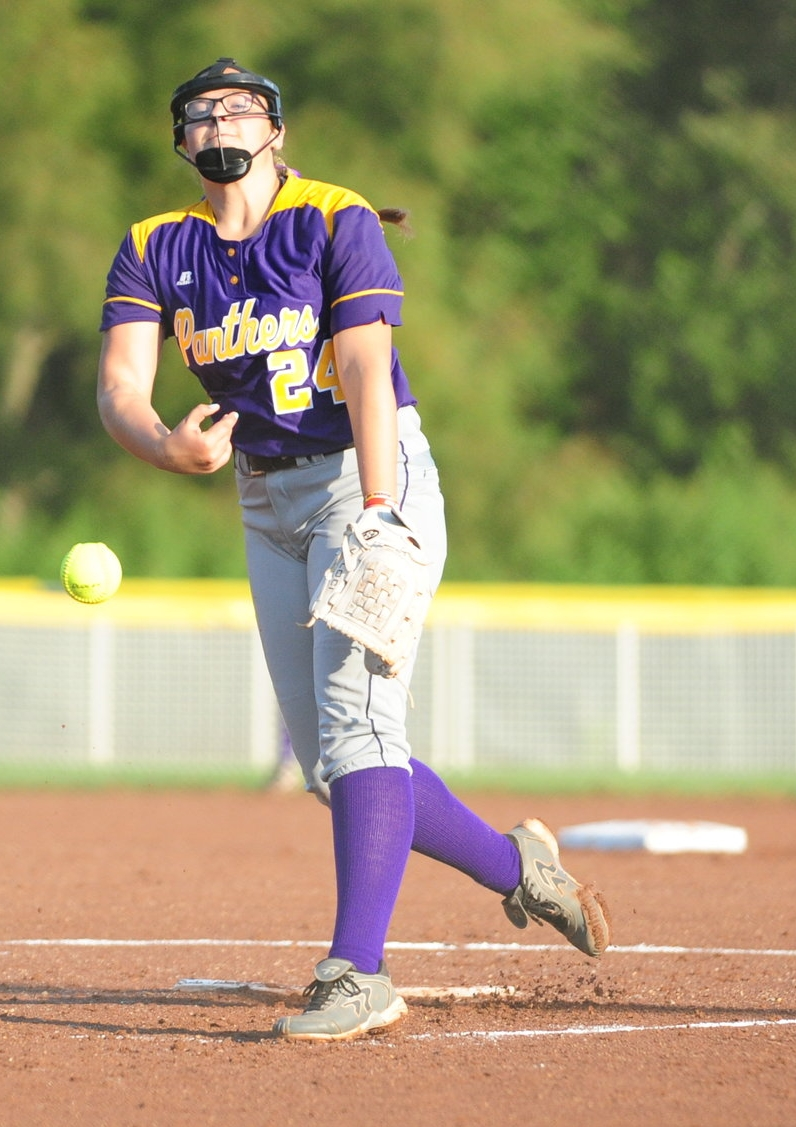 NICK INGRAM/Citizen photo North Platte sophomore Jordyn Smith delivers a pitch during a North Platte Invitational game against West Platte on Saturday, Aug. 19 at Dean Park in Dearborn, Mo.