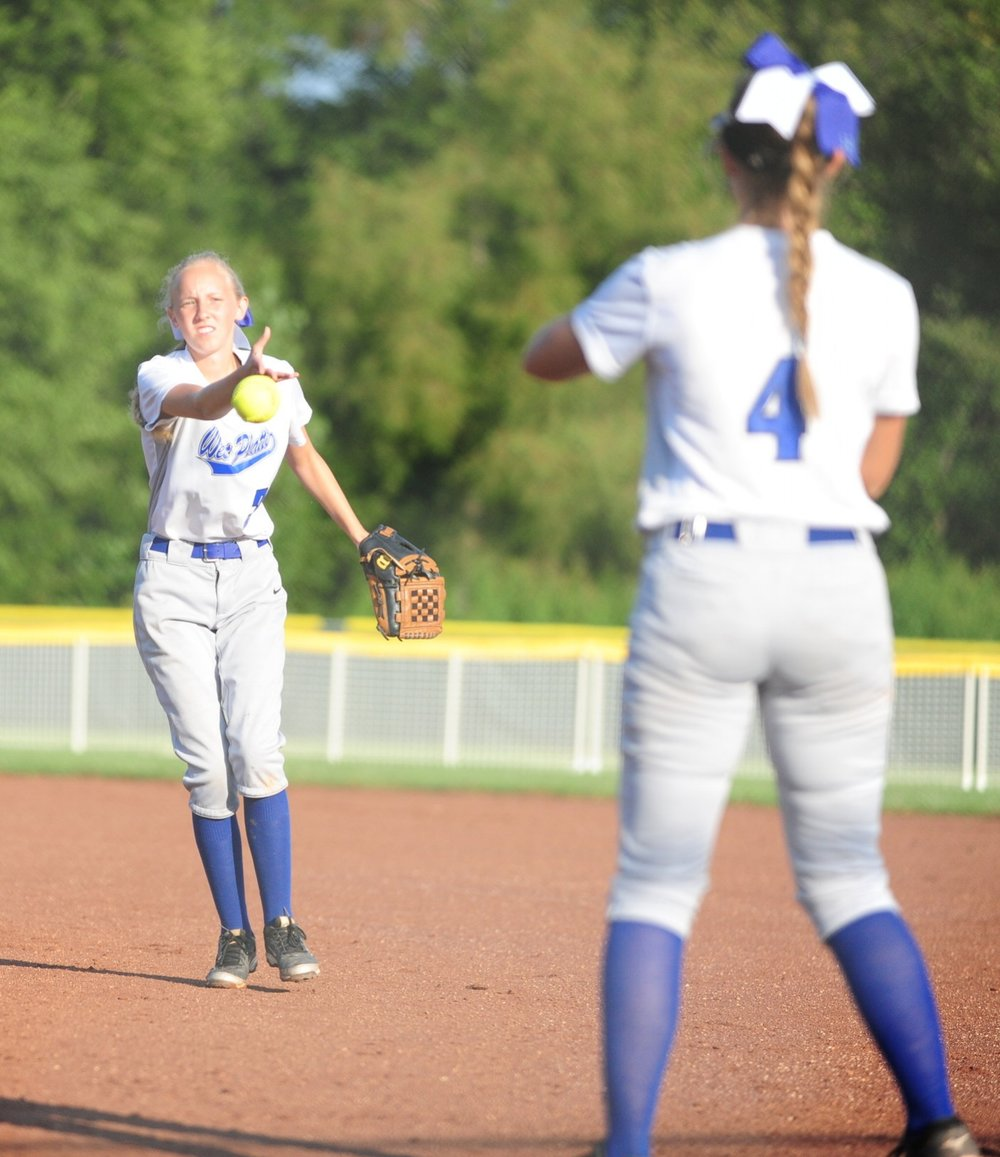 NICK INGRAM/Citizen photo West Platte second baseman Alyssa Knox, left, flips to first baseman Rachel Heili for an out against North Platte on Saturday, Aug. 19 at Dean Park in Dearborn, Mo.