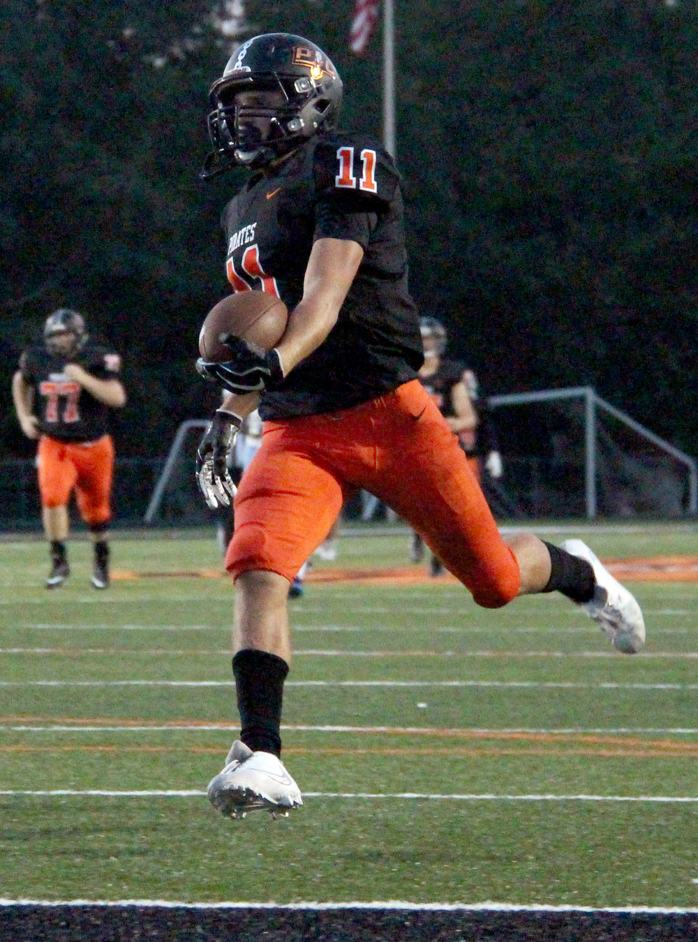 ROSS MARTIN/Citizen photo Platte County senior wide receiver Devin Richardson strolls into the end zone for his second receiving touchdown of the game.