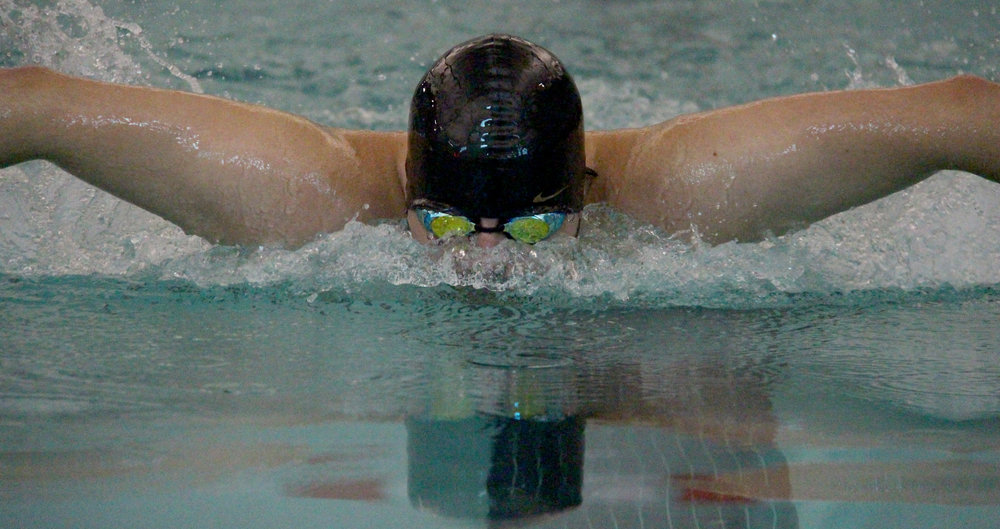 ROSS MARTIN/Citizen photo Platte County senior Jerry Orozco competes in the 200-yard individual medley during the Platte County Invitational on Saturday, Aug. 26 at Platte County Community Center North.