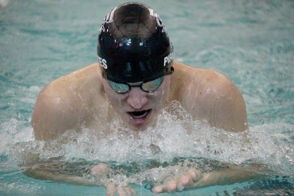ROSS MARTIN/Citizen photo Platte County senior Caden DeLay swims in the 200-yard medley relay Saturday, Aug. 26 during the Platte County Invitational at Platte County Community Center North.