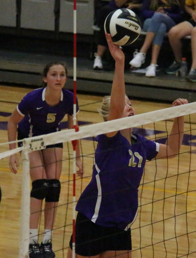 ROSS MARTIN/Citizen photo North Platte freshman Brianna Bridger hits the ball over the net during a match with St. Joseph Christian on Thursday, Aug. 31 at North Platte High School in Dearborn, Mo.
