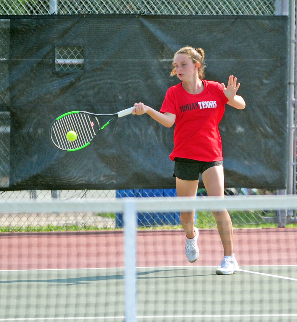 NICK INGRAM/Citizen photo Park Hill freshman Maisie Markowitz hits a forehand during a doubles match.