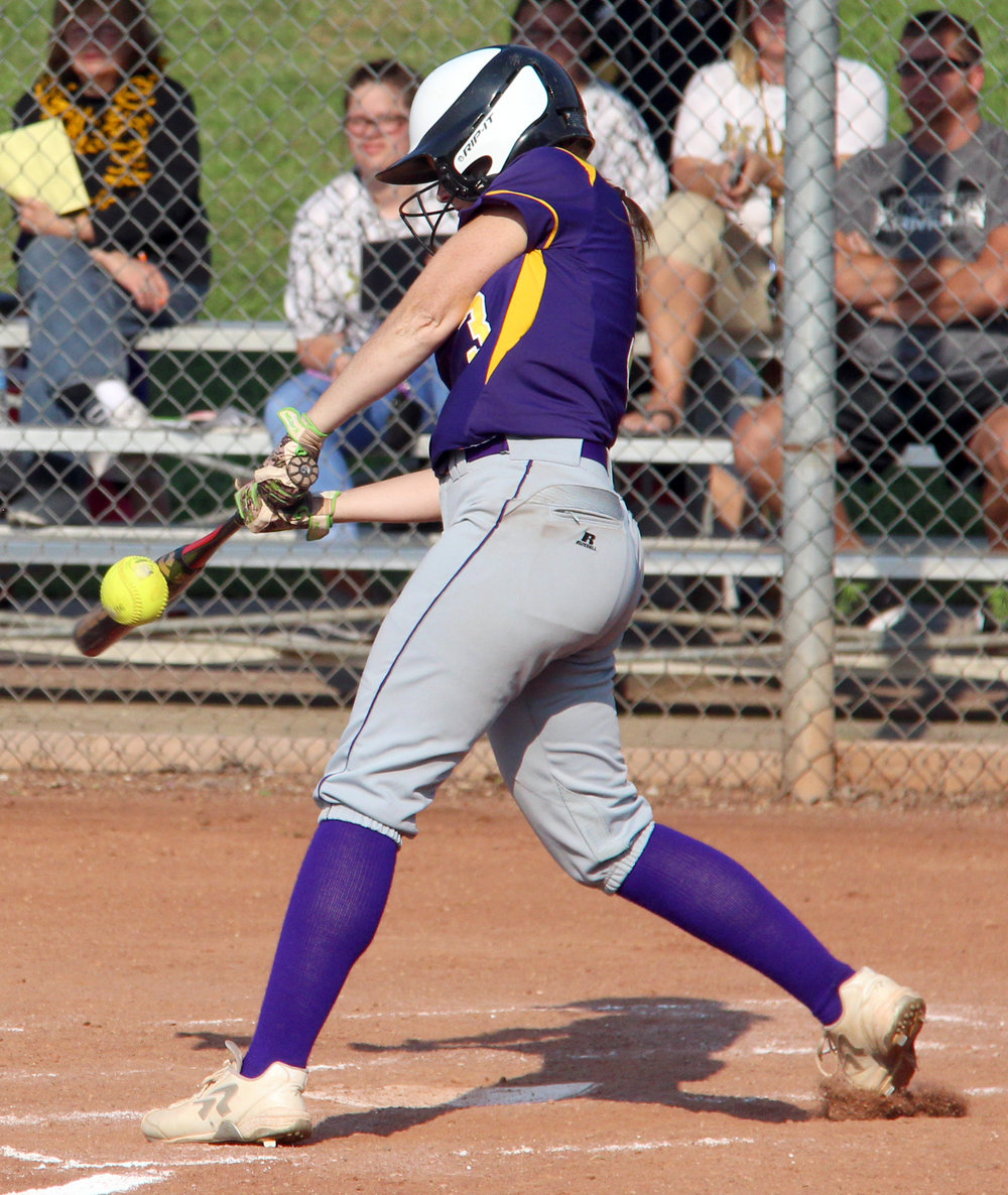 ROSS MARTIN/Citizen photo North Platte senior Gracie Roach makes contact with a pitch against Lathrop on Thursday, Aug. 31 at Dean Park in Dearborn, Mo.