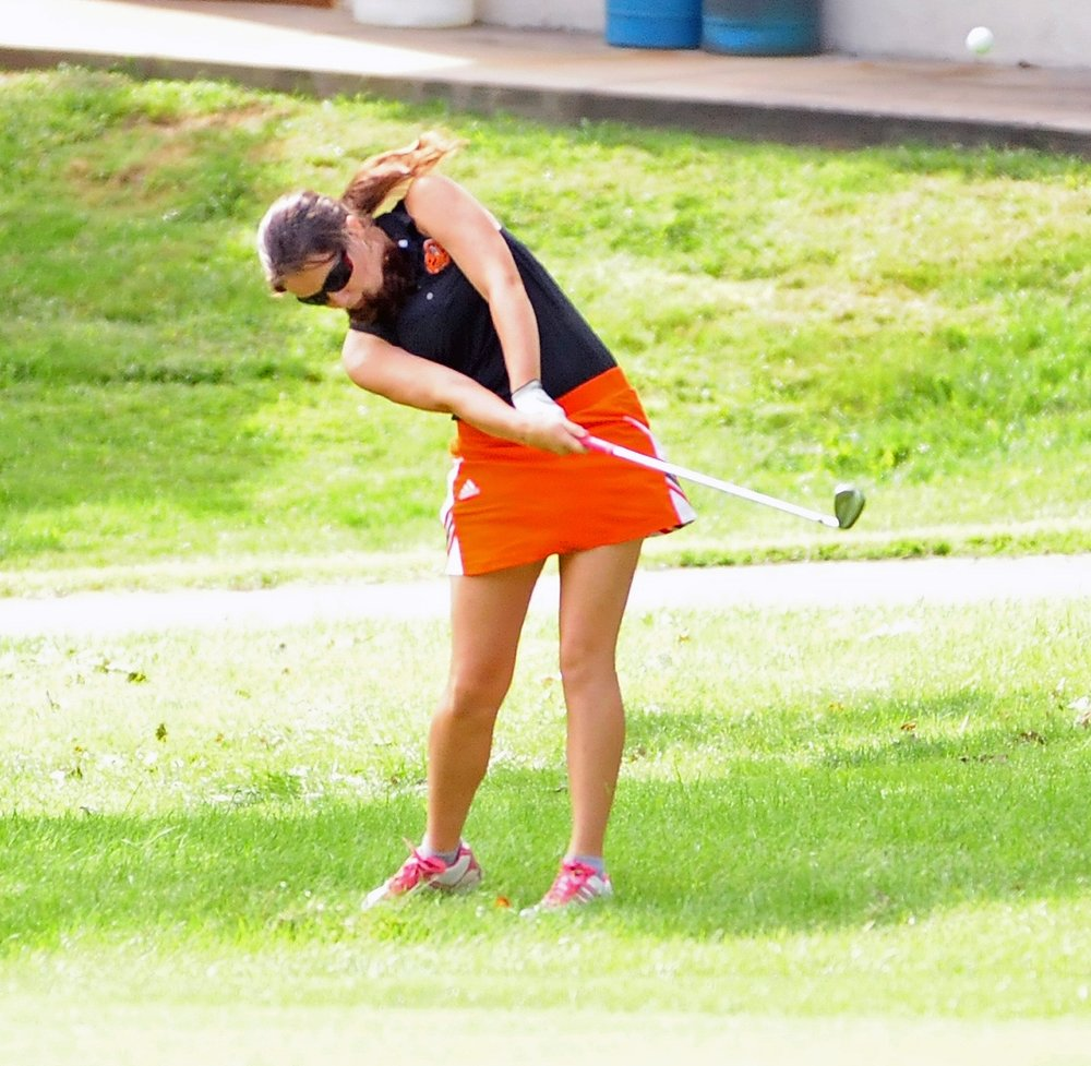 NICK INGRAM/Citizen photo Platte County junior Jessalyn Shipp hits an iron shot during the St. Joseph Central Invitational on Thursday, Aug. 31 at Moila Country Club in St. Joseph, Mo.